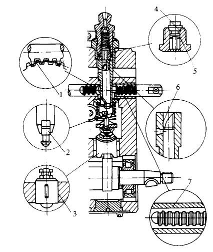 回油作用的小孔,与喷油泵体上的低压油腔相通,柱塞藕件上方装有出油阀图片