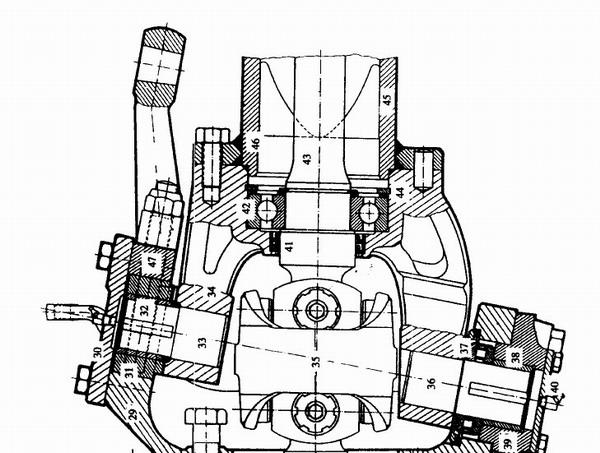 在4x4,6x6驱动形式的斯太尔91系列重型汽车上使用驱动前桥。驱动前桥是6.5t级。斯太尔汽车采用中央一级减速加轮边行星齿轮减速形式的驱动前桥。轮边行星减速比较大,这样可以大大地减小中央减速器的体积,从而提高了汽车的离地间隙,增强了汽车的通过性。 驱动桥由三部分组成,中央减速传动机构、转向节和轮边行星减速机构。图3一2给出了转向节和轮边行星减速机构的结构。 如图3-5-2,桥壳46用联接螺栓与支撑轴34相联接,为保证前轮定位的各项参数的准确.